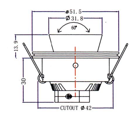 Mini Downlight QS-104B Diagram